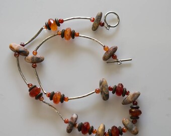 Carnelian and Crazy Lace Agate Necklace