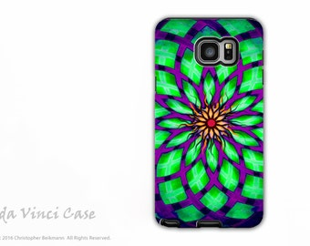 Geometric Green and Purple Galaxy Note 5 Case - Dual Layer Galaxy Note Case with Lotus Artwork - Kalotuscope - Galaxy Note 5 Cover