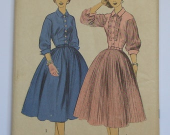 """UNUSED 1950s Full Skirt Shirtwaister Day Dress Sewing Pattern ADVANCE 7129 38"""" Bust VOLUP"""