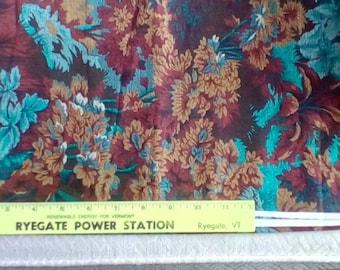 One yd VIP Cranston print Joan Messmore large scale blue, brown floral leaves