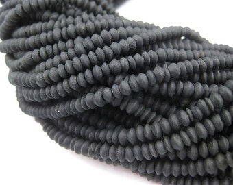 175 Black Jade Tiny Bicone Heishi Beads - African Stone Beads - Jewelry Making Supplies - Made in Afghanistan ** (JAD-HSHI-BLK-101)