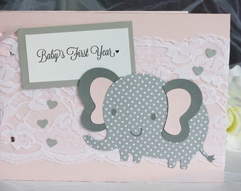 Pink and Grey Baby's First Year Memory Book, Baby Keepsake, Baby Book of Firsts, Baby Memory Book, New Baby Book, Baby's Memories Book