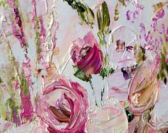 Landscape Abstract Pink Peony Oil Painting Original ArtWork Palette Knife Lilac Red Flowers Large Roses Peonies Girly Room Decor Bedroom Art