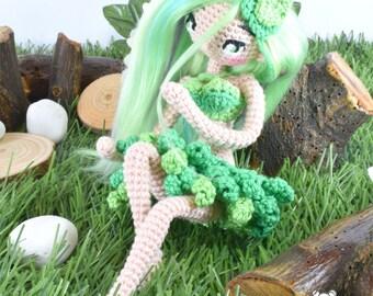 Ninfa del bosque, hada del bosque, muñeca ninfa, muñeca hada, muñeca articulada, muñeca ooak, muñeca posable, hada amigurumi, muñeca kawaii