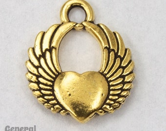 20mm Antique Gold Winged Heart Charm #CKB188