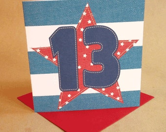 Age 13 Boy Birthday Card