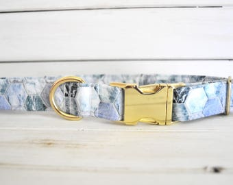 Marble Dog Collar, Hexagon, Blue Dog Collar, Blue and Teal, Boy Dog Collar, Male, Gold Metal Buckle