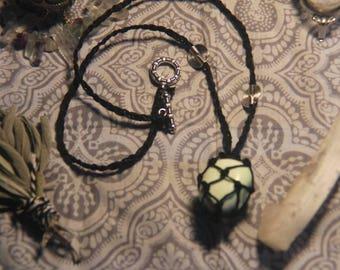 Lemon chrysoprase hemp wrapped necklace