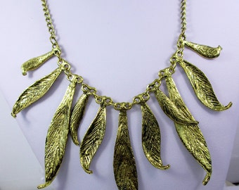 Gold Leaf Necklace Statement Jewelry Nature Wedding Leaf Necklace Vintage Gold Bib Necklace Leaf Jewelry Collar Necklace Nature Gift for Her