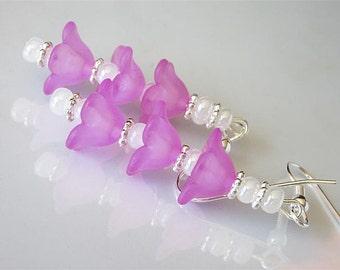 Bell Flower Earrings, Light Fuchsia Bellflower, Woodland Earrings, Lucite Flower Blossom, Beaded Earrings,