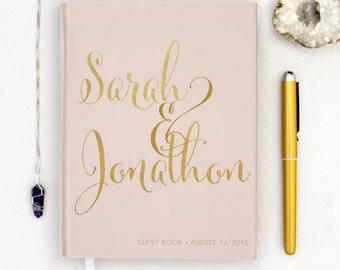 Real Gold Foil Wedding Guest Book Gold foil Guest Books Custom Guestbook Modern Wedding Script Wedding - Pink Blush