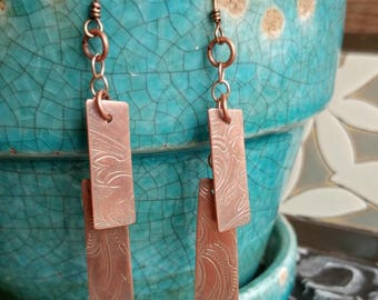 Silver and Copper Embossed Dangle Earrings