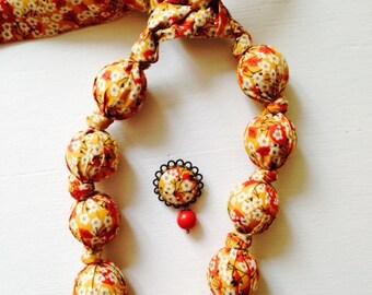 Fabric necklace Liberty of London Mitsi Valeria fabric mustard Valentine wedding gift