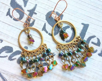 Gypsy Chandelier Earrings, Bohemian Jewelry, Boho Earrings. Gifts for Her, Boho Christmas, Dangle Earrings
