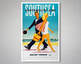 South Sea and Portsmouth Vintage Travel Poster, Canvas Giclee Print / Gift Idea
