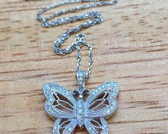 14k White Gold Diamond Butterfly Necklace