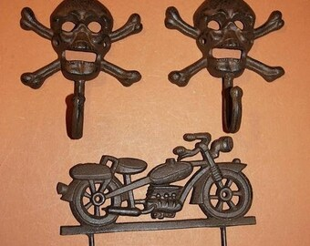 14 % OFF 3) Husband Gift Biker Mancave Rustic Wall Decor Vintage Motorcycle Skull Crossbones Wall Hook Set Shipping Included