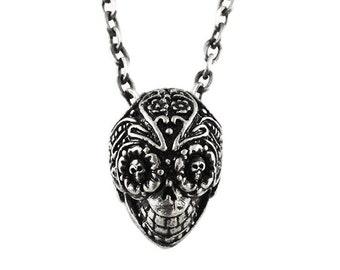 Mens Silver Necklace Sugar Skull Pendant Carpe Diem Jewelry