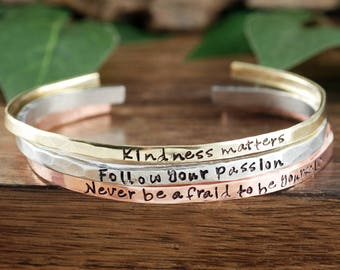 Custom Cuff Bracelets, Inspirational Cuff Bracelet, Personalized Gift for Her, Gift for Friend, Skinny Bracelet, Engraved Cuff