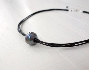 Black leather choker necklace grey bead choker minimalist leather necklace black cord choker for women
