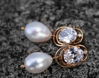 Freshwater Pearl Golden Earrings Wedding Jewelry Long Drop Pearl Earrings Boho Wedding Bridal Jewelry