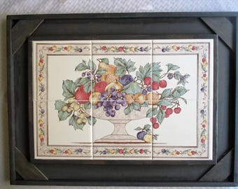 Fruit Bowl, wall hanging, tile mural, tile art, framed tile, wall decor, dining decor, framed art, decorative tile, art mural, fruit, tile