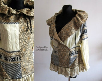 L/XL Trendy Plus Size Extravagant Coat Upcycled Clothing Tapestry Coat Unique Coat Recycled Sweaters Patchwork Coat Boho Plus Top Lagenlook