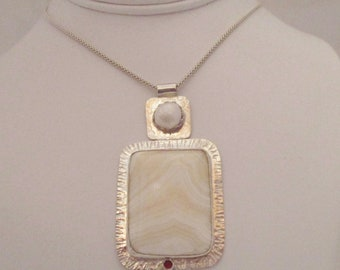 Honey Onyx Sterling Silver Pendant