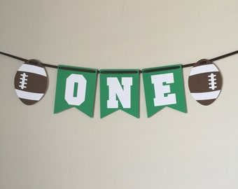 Highchair Banner, Football One Banner, Football highchair banner, Football first birthday, ONE banner, one, football