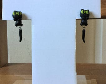 Mothers day gift ideas, clay hand made earring, black cat earring, brown earring, gift under 10, animal earring