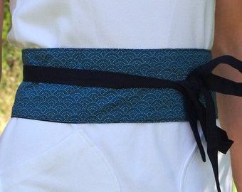 Blue Green Japanese obi belt