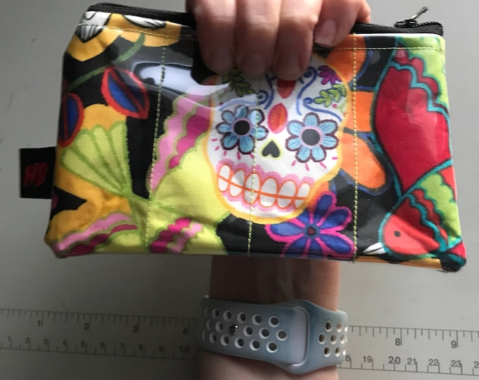 Zippered Pouch - Sugar skull day of the dead coin purse/change purse