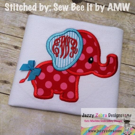 Elephant 34 Applique Embroidery Design - Elephant applique design - zoo applique design - circus applique design - baby applique design