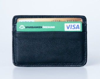 Small wallet / Card holder. Credit card - Black genuine leather
