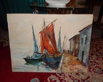 ORIGINAL MID CENTURY Painting of Boats