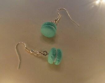 Teal/mint French macaron dangle earrings