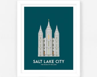 Salt Lake City LDS Temple Print - Navy Digital Download || Wedding Gift || Anniversary Gift || Christmas Gift