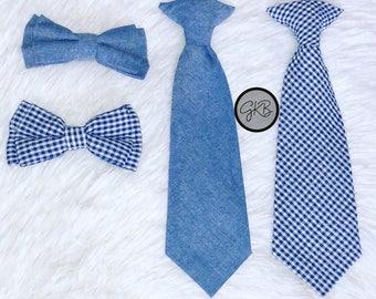 Denim & Plaid Bow tie Set