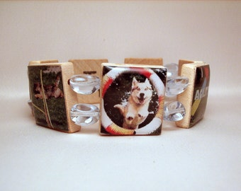 DOG AGILITY Sport Obedience Bracelet / Jewelry /  UPCYCLED Handmade / Scrabble Art / Dog Lover Gift