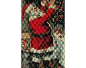 Santa Tapestry Peyote Bead Pattern, Christmas Tapestry, Seed Beading Pattern Miyuki Delica Size 11 Beads - PDF Instant Download