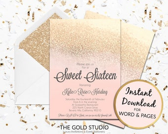 Instant Download Sweet 16 blush peach gold glitter invitation sweet sixteen editable template elegant editable in word & pages on PC and Mac