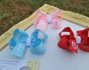 Embroidered Hair Bow Set - Pick Any 3 Colors - New Baby Gift Set - Personalized Hair Bows - Girls Monogrammed Hairbow - 3 Inch Bow w/Initial