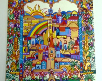 Egg Tempera on Paper, Pray for the peace of Jerusalem,  Gouache, Parchment  Gift, Bible Stories, Original painting, , Handmade Painting