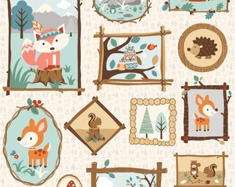 Critter Panel, Woodland animal, Critter Camping Fabric - Camp Along Critters by Studio e Fabrics -4001 66 - 24-Inch Panel