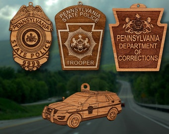 Personalized Wooden PA State Police Badge Christmas Ornament