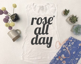 Rosé All Day Muscle Tank Top, Super-soft Women's Brunch Tank Top, Casual tank, Rose All Day Womens Tank Top, Gym Top