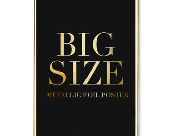 Metallic Posters In Bigger Size, Large Foil Print, Real Gold Foil Poster, Large Gold Foil Print.