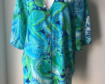 """Tropical blouse XXL Blue Hawaiian Casual shirt Floral & leaf print Short sleeves Resort wear Holiday top plus size 24W chest 58"""""""