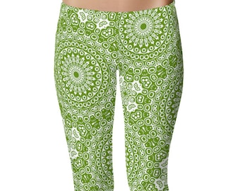 Avocado Yoga Pants, Yoga Leggings, Green Leggings, Green and White Printed Leggings