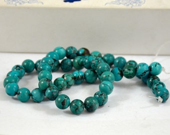 Natural Turquoise Beads Real Turquoise Old Turquoise Beads 24beads Round Beads 8-9mm